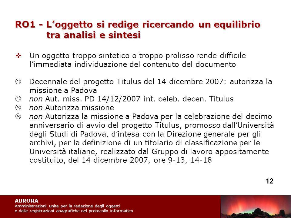 AURORA Amministrazioni unite per la redazione degli oggetti e delle registrazioni anagrafiche nel protocollo informatico RO1 - L'oggetto si redige ric