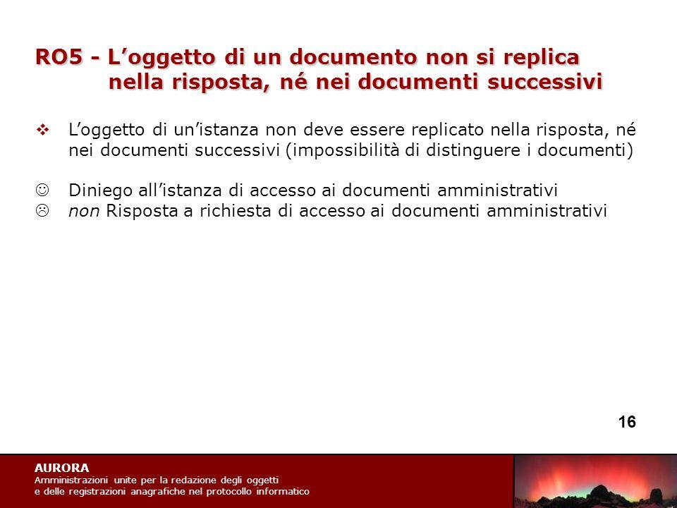 AURORA Amministrazioni unite per la redazione degli oggetti e delle registrazioni anagrafiche nel protocollo informatico RO5 - L'oggetto di un documen