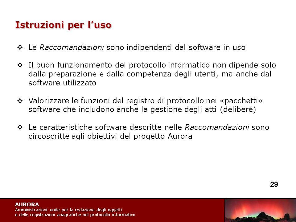 AURORA Amministrazioni unite per la redazione degli oggetti e delle registrazioni anagrafiche nel protocollo informatico Istruzioni per l'uso  Le Rac