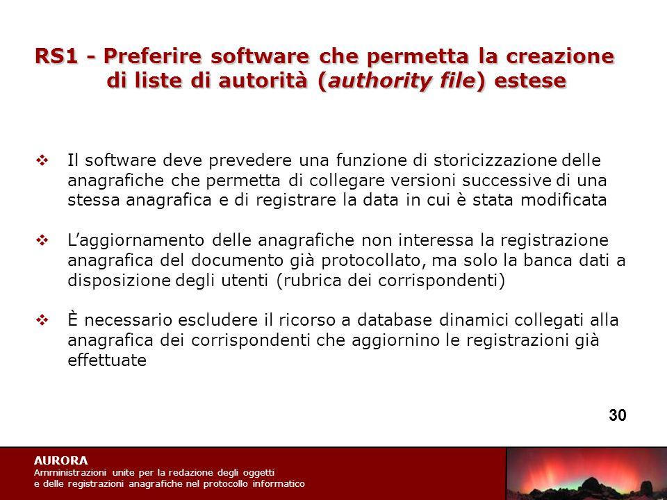 AURORA Amministrazioni unite per la redazione degli oggetti e delle registrazioni anagrafiche nel protocollo informatico RS1 - Preferire software che