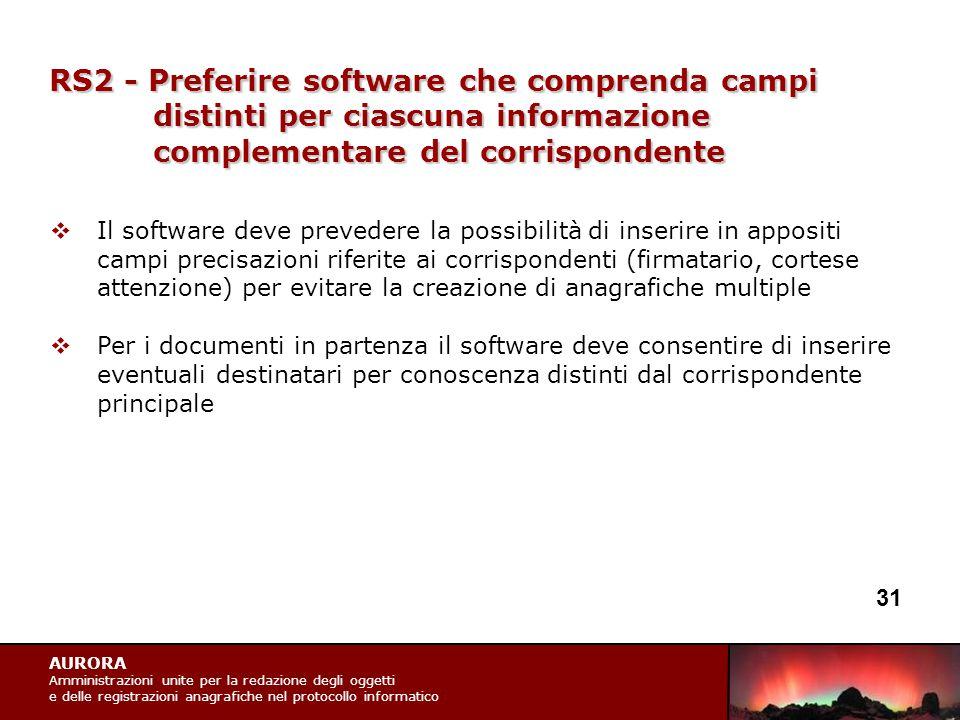 AURORA Amministrazioni unite per la redazione degli oggetti e delle registrazioni anagrafiche nel protocollo informatico RS2 - Preferire software che