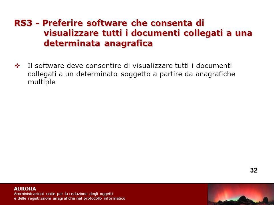 AURORA Amministrazioni unite per la redazione degli oggetti e delle registrazioni anagrafiche nel protocollo informatico RS3 - Preferire software che