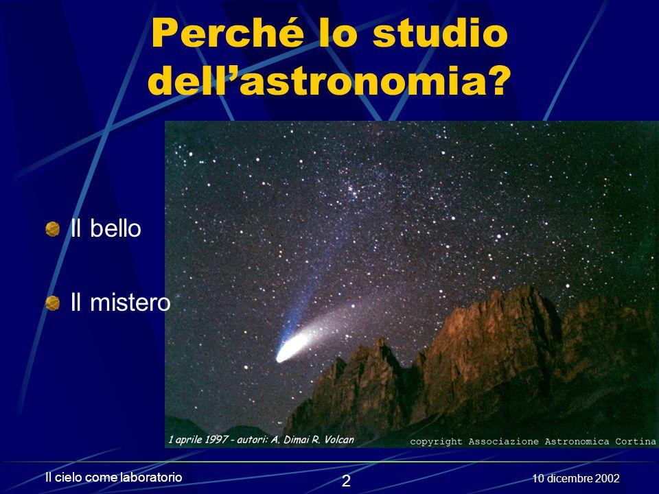 23 Il cielo come laboratorio 10 dicembre 2002 Da Galileo ai telescopi attuali Come e` migliorato il potere risolutivo dei telescopi ottici con lo sviluppo di nuove tecnologie e la scelta dei siti adatti