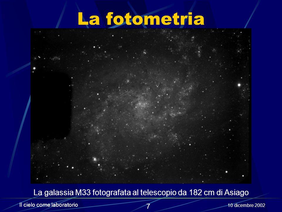 8 Il cielo come laboratorio 10 dicembre 2002 La spettroscopia Introdotta in astronomia nella seconda metà del 1800, segna l'inizio degli studi di fisica applicati ai corpi celesti.