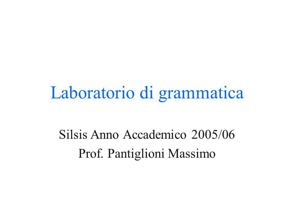 Laboratorio di grammatica Silsis Anno Accademico 2005/06 Prof. Pantiglioni Massimo