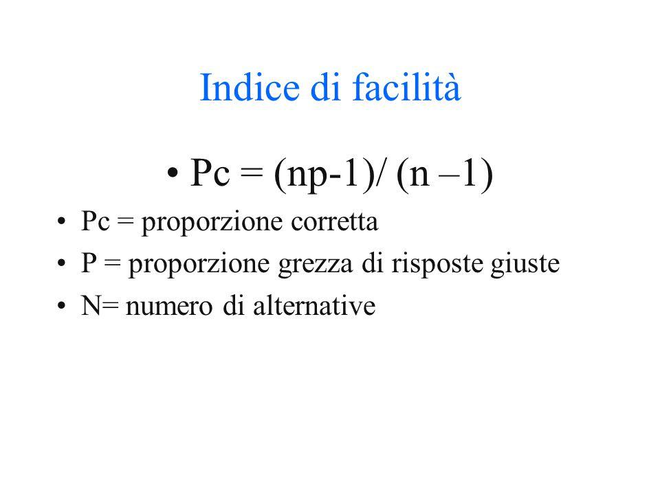 Valutazione R – W/n-1 R = risposte corrette W = risposte errate N = numero di item