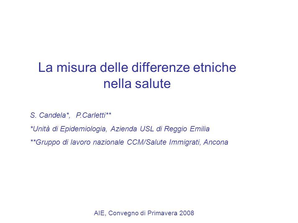 La misura delle differenze etniche nella salute S.