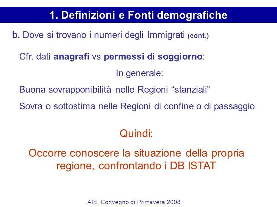 b. Dove si trovano i numeri degli Immigrati (cont.) Cfr.