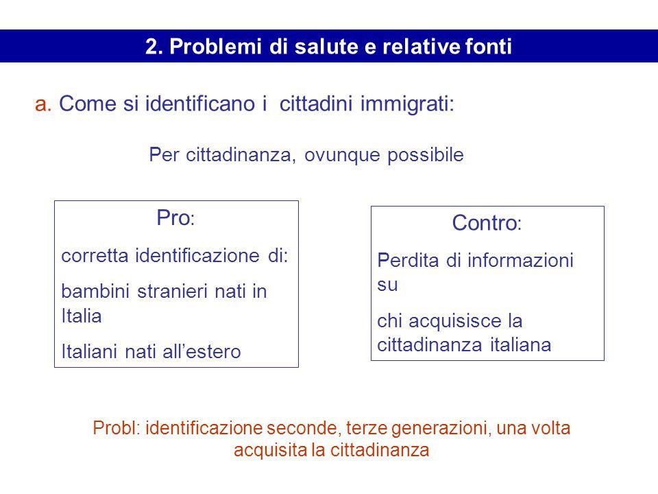 a. Come si identificano i cittadini immigrati: Per cittadinanza, ovunque possibile Pro : corretta identificazione di: bambini stranieri nati in Italia