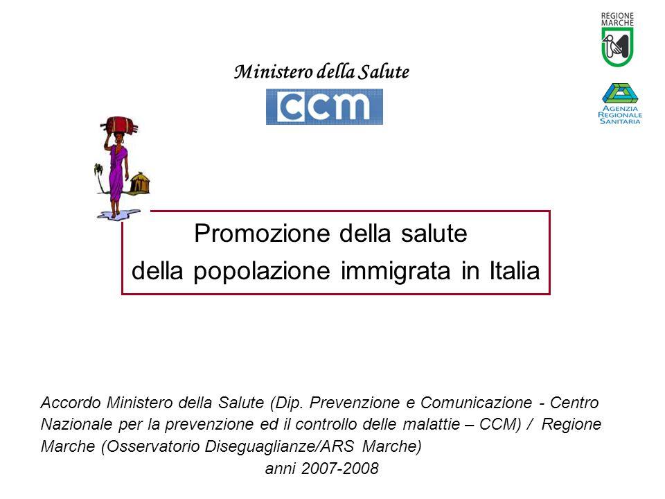 Promozione della salute della popolazione immigrata in Italia Accordo Ministero della Salute (Dip.