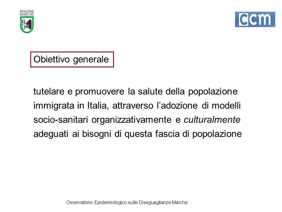 Obiettivo generale tutelare e promuovere la salute della popolazione immigrata in Italia, attraverso l'adozione di modelli socio-sanitari organizzativamente e culturalmente adeguati ai bisogni di questa fascia di popolazione Osservatorio Epidemiologico sulle Diseguaglianze Marche