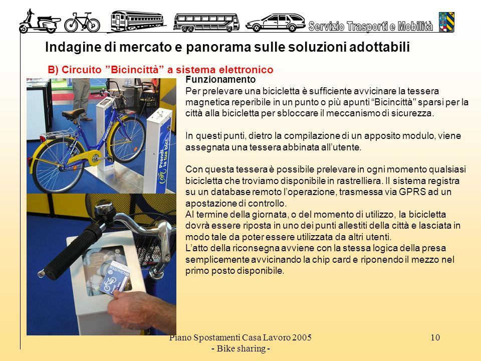 Piano Spostamenti Casa Lavoro 2005 - Bike sharing - 10 Indagine di mercato e panorama sulle soluzioni adottabili B) Circuito Bicincittà a sistema elettronico Funzionamento Per prelevare una bicicletta è sufficiente avvicinare la tessera magnetica reperibile in un punto o più apunti Bicincittà sparsi per la città alla bicicletta per sbloccare il meccanismo di sicurezza.