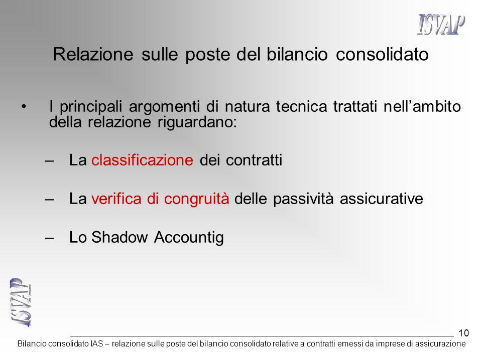 Bilancio consolidato IAS – relazione sulle poste del bilancio consolidato relative a contratti emessi da imprese di assicurazione 10 Relazione sulle p