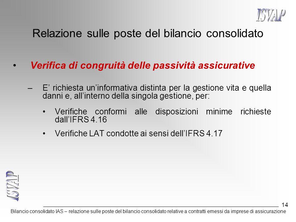Bilancio consolidato IAS – relazione sulle poste del bilancio consolidato relative a contratti emessi da imprese di assicurazione 14 Relazione sulle poste del bilancio consolidato Verifica di congruità delle passività assicurative –E' richiesta un'informativa distinta per la gestione vita e quella danni e, all'interno della singola gestione, per: Verifiche conformi alle disposizioni minime richieste dall'IFRS 4.16 Verifiche LAT condotte ai sensi dell'IFRS 4.17