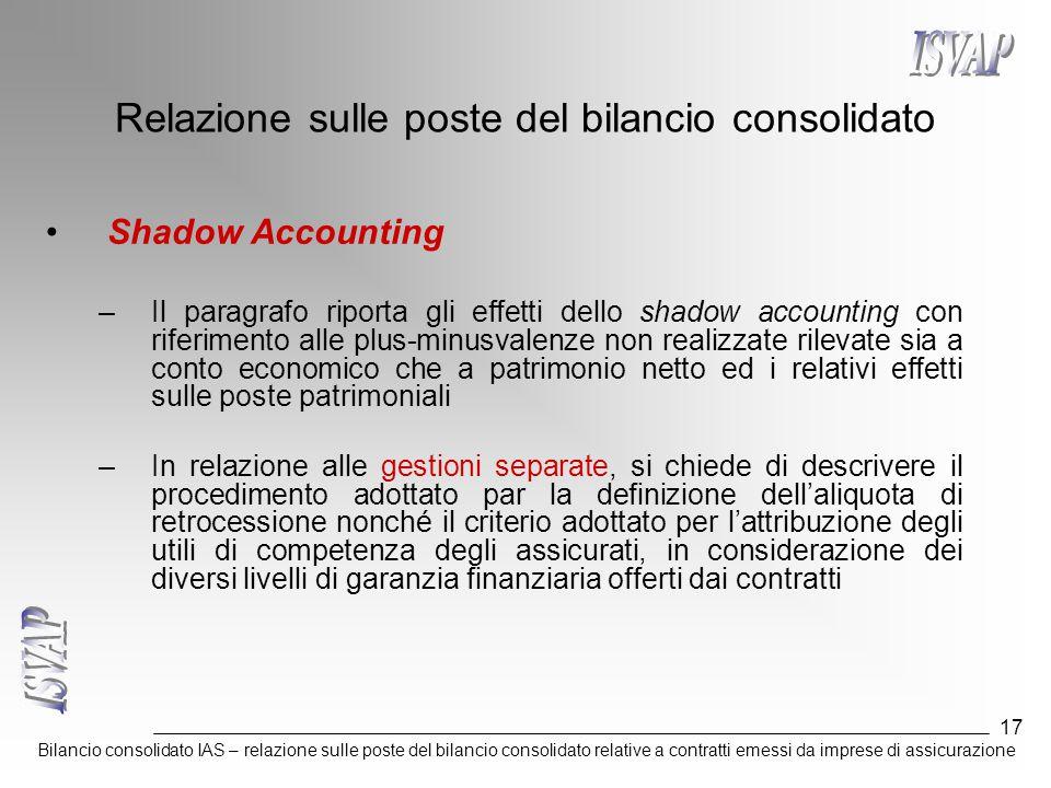 Bilancio consolidato IAS – relazione sulle poste del bilancio consolidato relative a contratti emessi da imprese di assicurazione 17 Relazione sulle p
