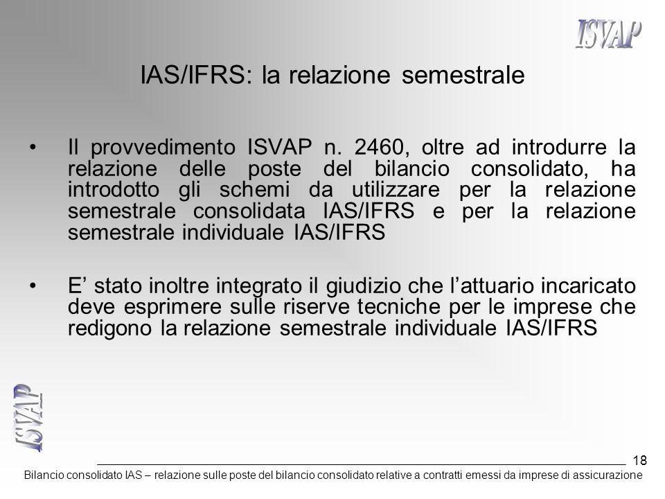 Bilancio consolidato IAS – relazione sulle poste del bilancio consolidato relative a contratti emessi da imprese di assicurazione 18 IAS/IFRS: la rela