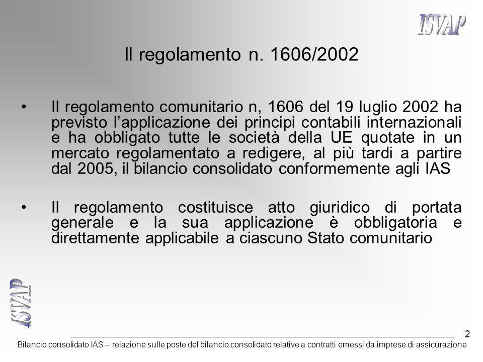 Bilancio consolidato IAS – relazione sulle poste del bilancio consolidato relative a contratti emessi da imprese di assicurazione 2 Il regolamento n.