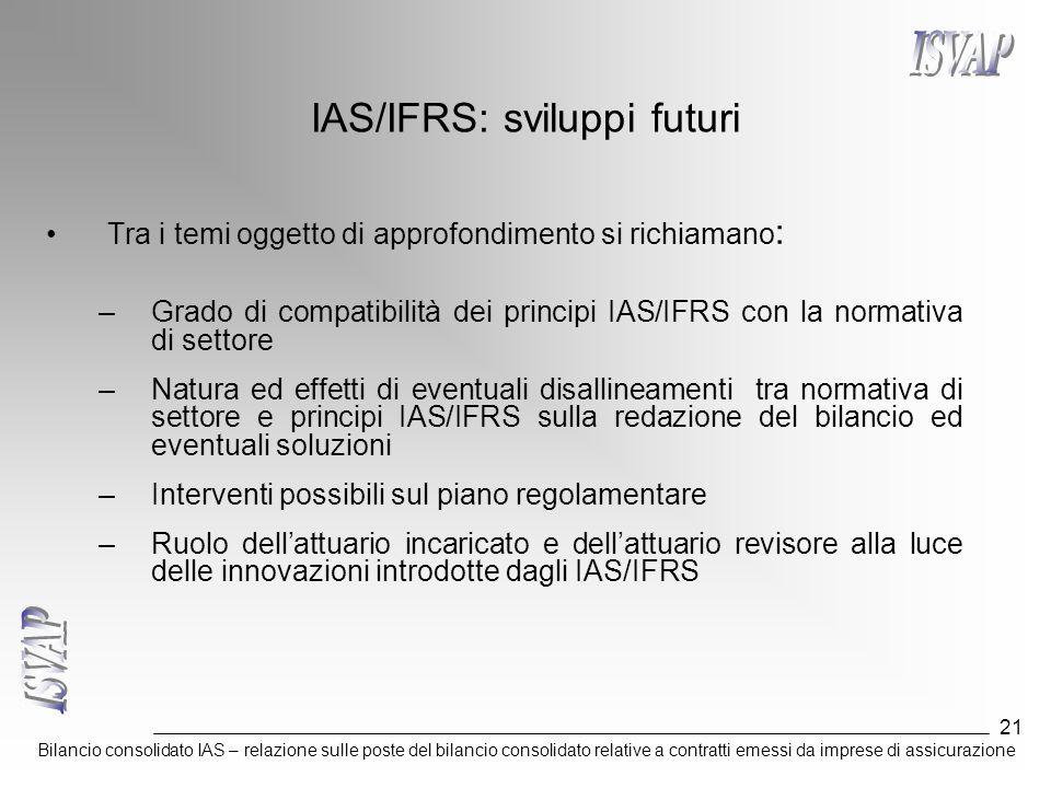 Bilancio consolidato IAS – relazione sulle poste del bilancio consolidato relative a contratti emessi da imprese di assicurazione 21 IAS/IFRS: svilupp