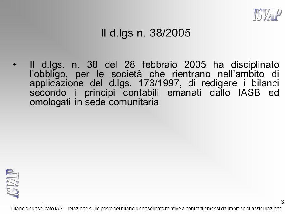 Bilancio consolidato IAS – relazione sulle poste del bilancio consolidato relative a contratti emessi da imprese di assicurazione 3 Il d.lgs n. 38/200