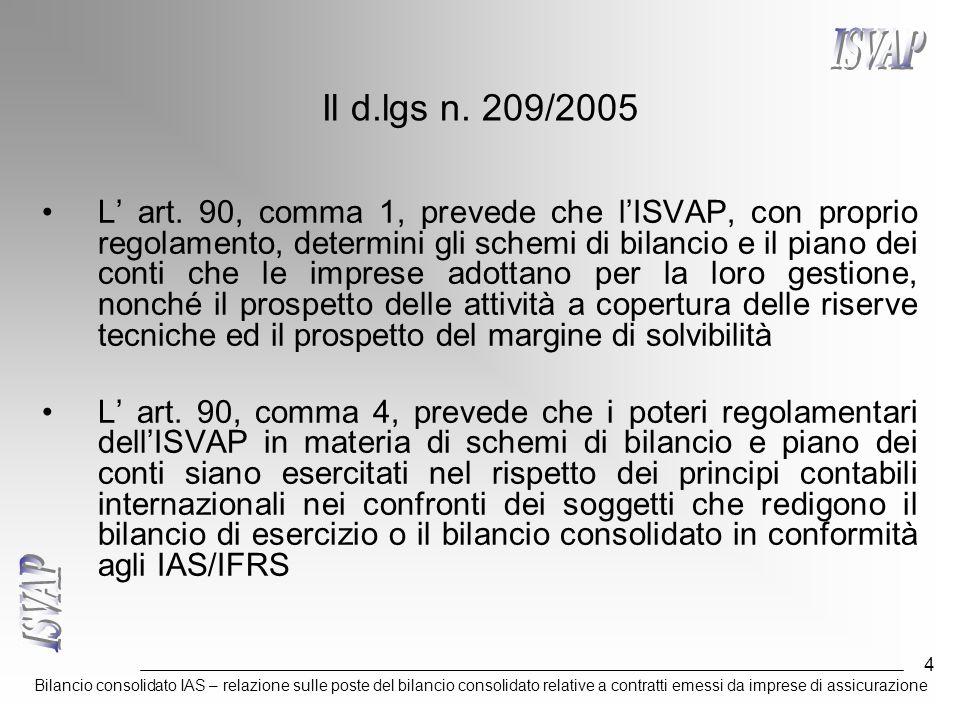 Bilancio consolidato IAS – relazione sulle poste del bilancio consolidato relative a contratti emessi da imprese di assicurazione 5 I provvedimenti ISVAP Il provvedimento ISVAP n.