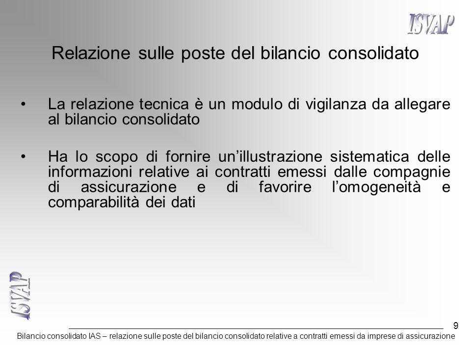 Bilancio consolidato IAS – relazione sulle poste del bilancio consolidato relative a contratti emessi da imprese di assicurazione 9 Relazione sulle poste del bilancio consolidato La relazione tecnica è un modulo di vigilanza da allegare al bilancio consolidato Ha lo scopo di fornire un'illustrazione sistematica delle informazioni relative ai contratti emessi dalle compagnie di assicurazione e di favorire l'omogeneità e comparabilità dei dati