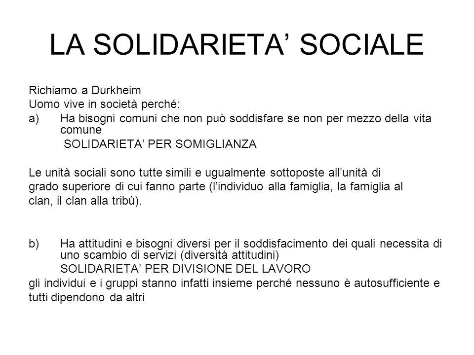 LA SOLIDARIETA' SOCIALE Richiamo a Durkheim Uomo vive in società perché: a)Ha bisogni comuni che non può soddisfare se non per mezzo della vita comune