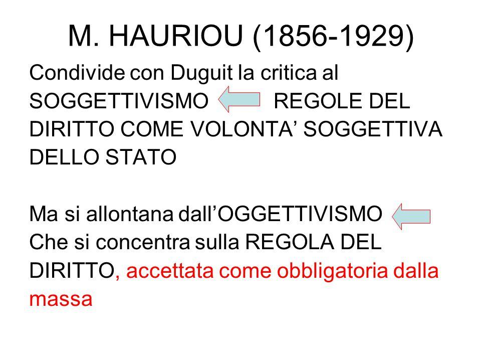 M. HAURIOU (1856-1929) Condivide con Duguit la critica al SOGGETTIVISMO REGOLE DEL DIRITTO COME VOLONTA' SOGGETTIVA DELLO STATO Ma si allontana dall'O