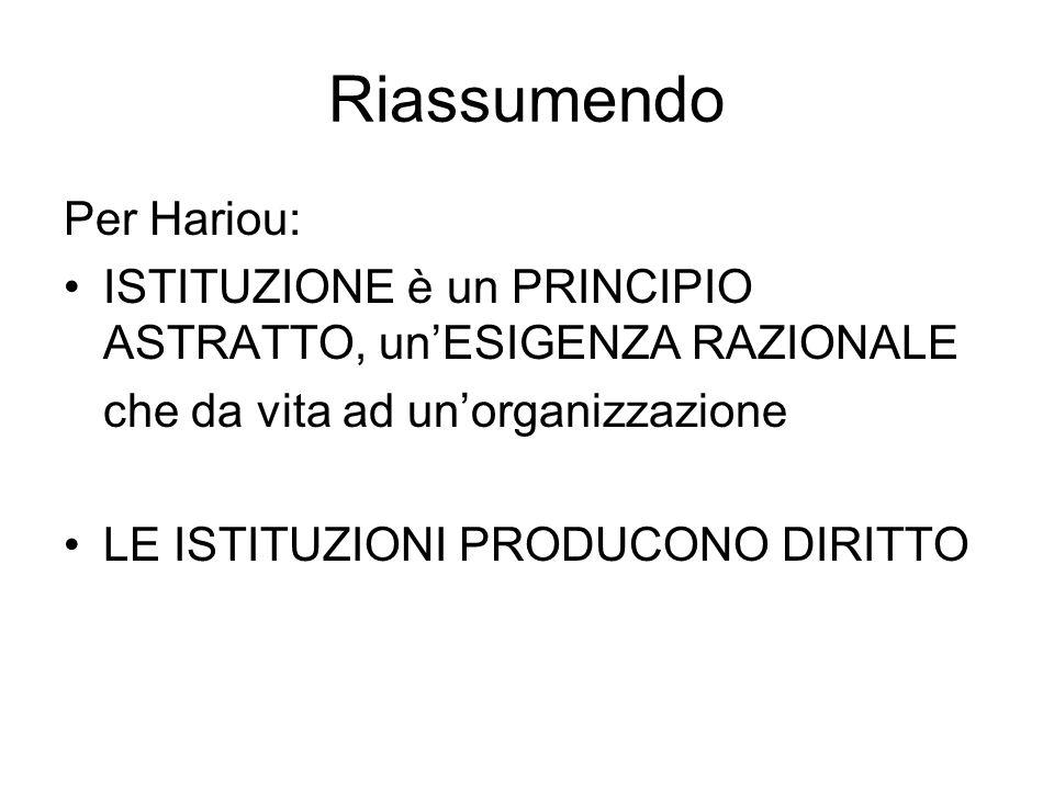 Riassumendo Per Hariou: ISTITUZIONE è un PRINCIPIO ASTRATTO, un'ESIGENZA RAZIONALE che da vita ad un'organizzazione LE ISTITUZIONI PRODUCONO DIRITTO