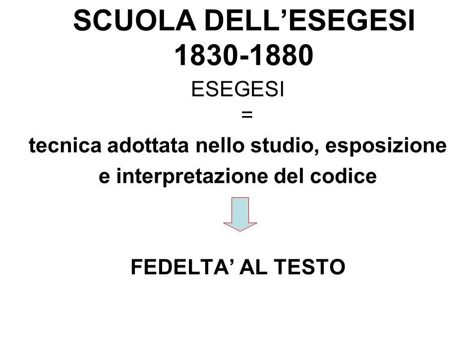 SCUOLA DELL'ESEGESI 1830-1880 ESEGESI = tecnica adottata nello studio, esposizione e interpretazione del codice FEDELTA' AL TESTO