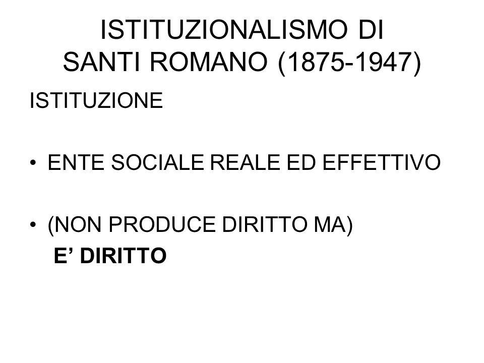 ISTITUZIONALISMO DI SANTI ROMANO (1875-1947) ISTITUZIONE ENTE SOCIALE REALE ED EFFETTIVO (NON PRODUCE DIRITTO MA) E' DIRITTO