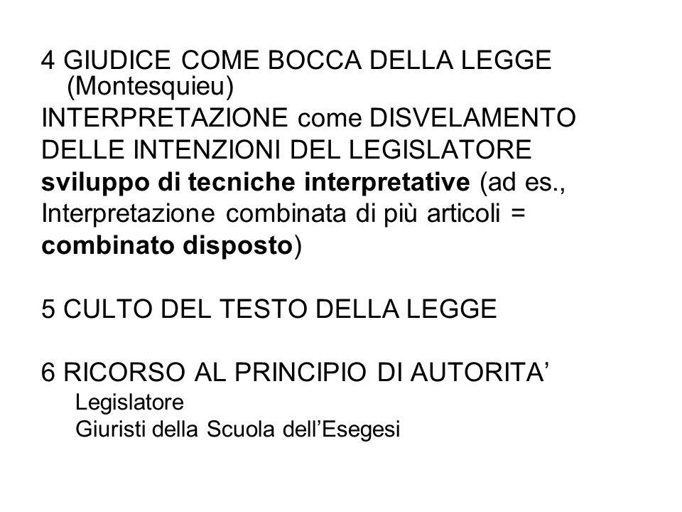 4 GIUDICE COME BOCCA DELLA LEGGE (Montesquieu) INTERPRETAZIONE come DISVELAMENTO DELLE INTENZIONI DEL LEGISLATORE sviluppo di tecniche interpretative