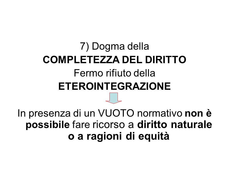 7) Dogma della COMPLETEZZA DEL DIRITTO Fermo rifiuto della ETEROINTEGRAZIONE In presenza di un VUOTO normativo non è possibile fare ricorso a diritto