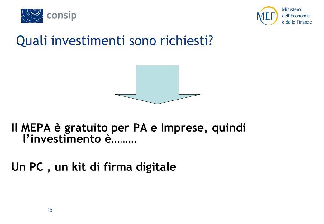 16 Quali investimenti sono richiesti.
