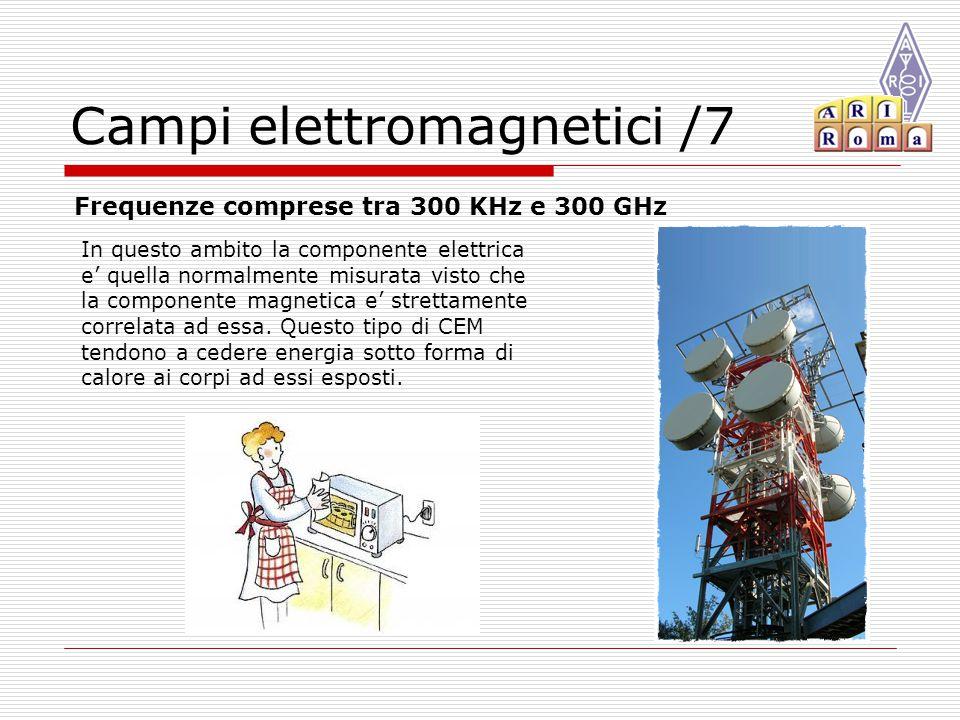 Campi elettromagnetici /7 Frequenze comprese tra 300 KHz e 300 GHz In questo ambito la componente elettrica e' quella normalmente misurata visto che la componente magnetica e' strettamente correlata ad essa.