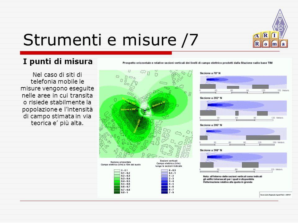 Strumenti e misure /7 I punti di misura Nel caso di siti di telefonia mobile le misure vengono eseguite nelle aree in cui transita o risiede stabilmente la popolazione e l'intensità di campo stimata in via teorica e' più alta.
