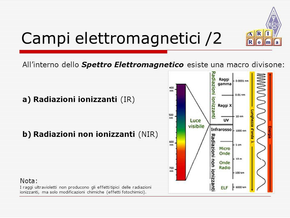Campi elettromagnetici /2 All'interno dello Spettro Elettromagnetico esiste una macro divisone: a)Radiazioni ionizzanti (IR) b)Radiazioni non ionizzanti (NIR) Nota: I raggi ultravioletti non producono gli effetti tipici delle radiazioni ionizzanti, ma solo modificazioni chimiche (effetti fotochimici).