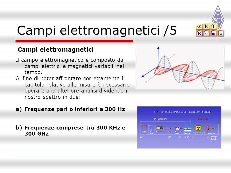 Campi elettromagnetici /5 Campi elettromagnetici Il campo elettromagnetico è composto da campi elettrici e magnetici variabili nel tempo.