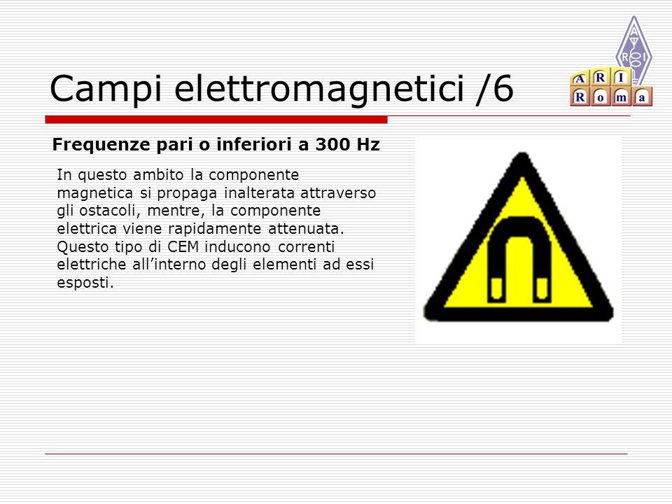 Campi elettromagnetici /6 Frequenze pari o inferiori a 300 Hz In questo ambito la componente magnetica si propaga inalterata attraverso gli ostacoli, mentre, la componente elettrica viene rapidamente attenuata.