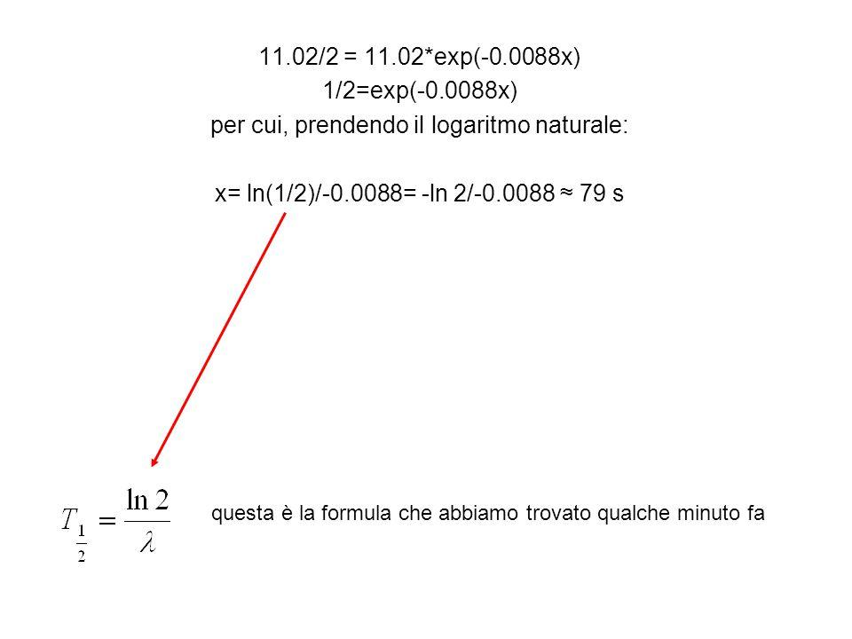 11.02/2 = 11.02*exp(-0.0088x) 1/2=exp(-0.0088x) per cui, prendendo il logaritmo naturale: x= ln(1/2)/-0.0088= -ln 2/-0.0088 ≈ 79 s questa è la formula