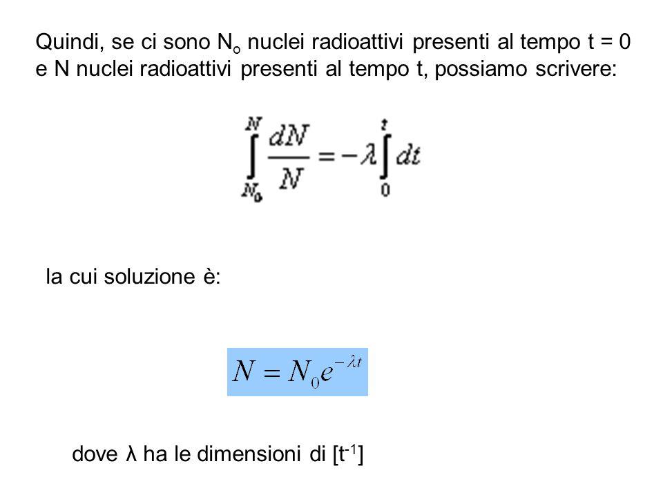 Quindi, se ci sono N o nuclei radioattivi presenti al tempo t = 0 e N nuclei radioattivi presenti al tempo t, possiamo scrivere: la cui soluzione è: d