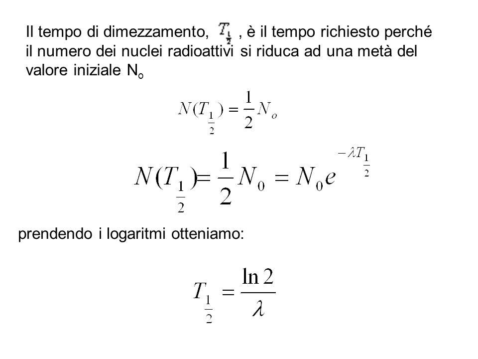 Il tempo di dimezzamento,, è il tempo richiesto perché il numero dei nuclei radioattivi si riduca ad una metà del valore iniziale N o prendendo i loga