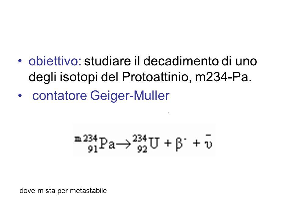 obiettivo: studiare il decadimento di uno degli isotopi del Protoattinio, m234-Pa. contatore Geiger-Muller. dove m sta per metastabile