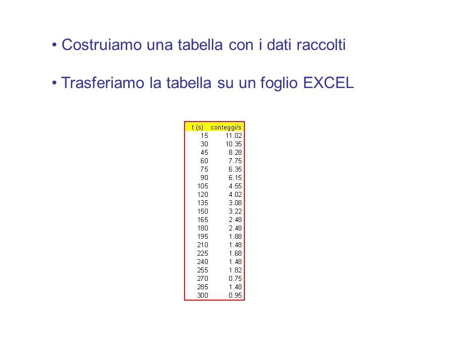 Costruiamo una tabella con i dati raccolti Trasferiamo la tabella su un foglio EXCEL