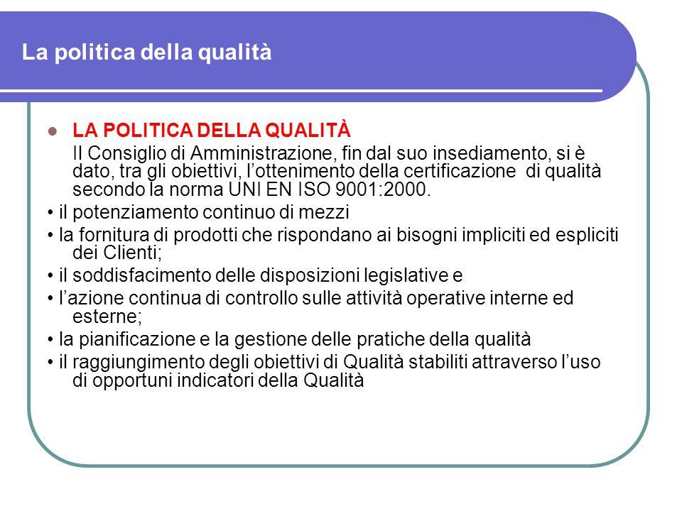 La politica della qualità LA POLITICA DELLA QUALITÀ Il Consiglio di Amministrazione, fin dal suo insediamento, si è dato, tra gli obiettivi, l'ottenimento della certificazione di qualità secondo la norma UNI EN ISO 9001:2000.