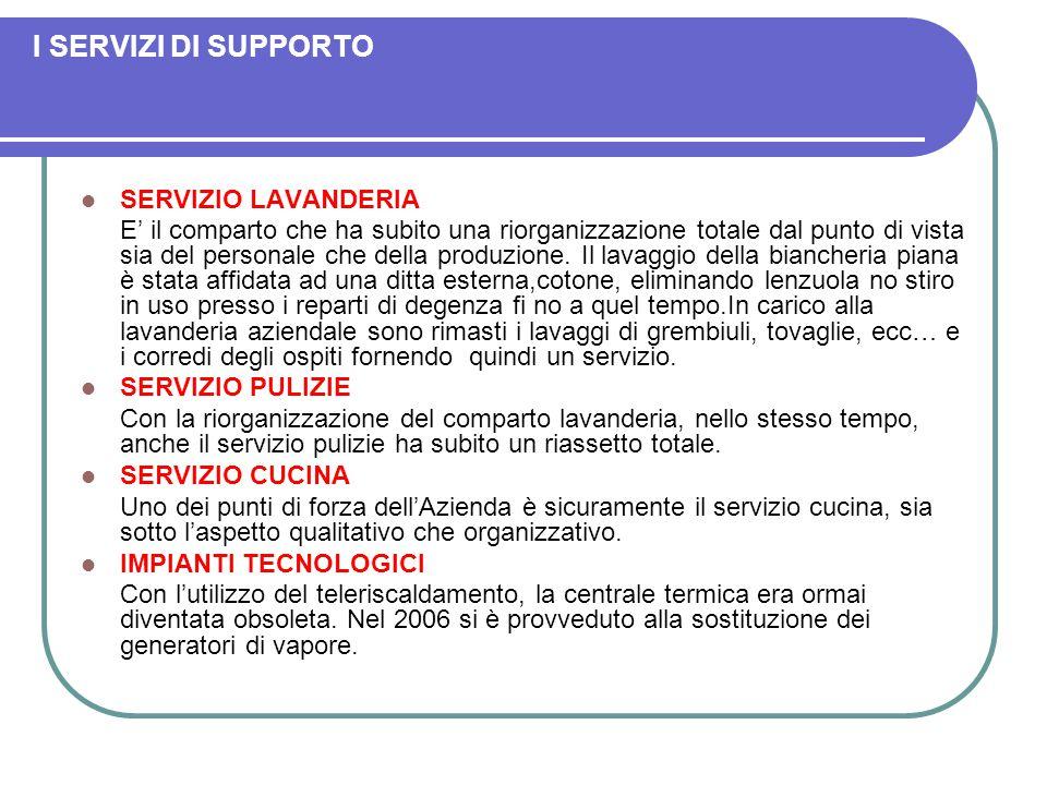 I SERVIZI DI SUPPORTO SERVIZIO LAVANDERIA E' il comparto che ha subito una riorganizzazione totale dal punto di vista sia del personale che della produzione.