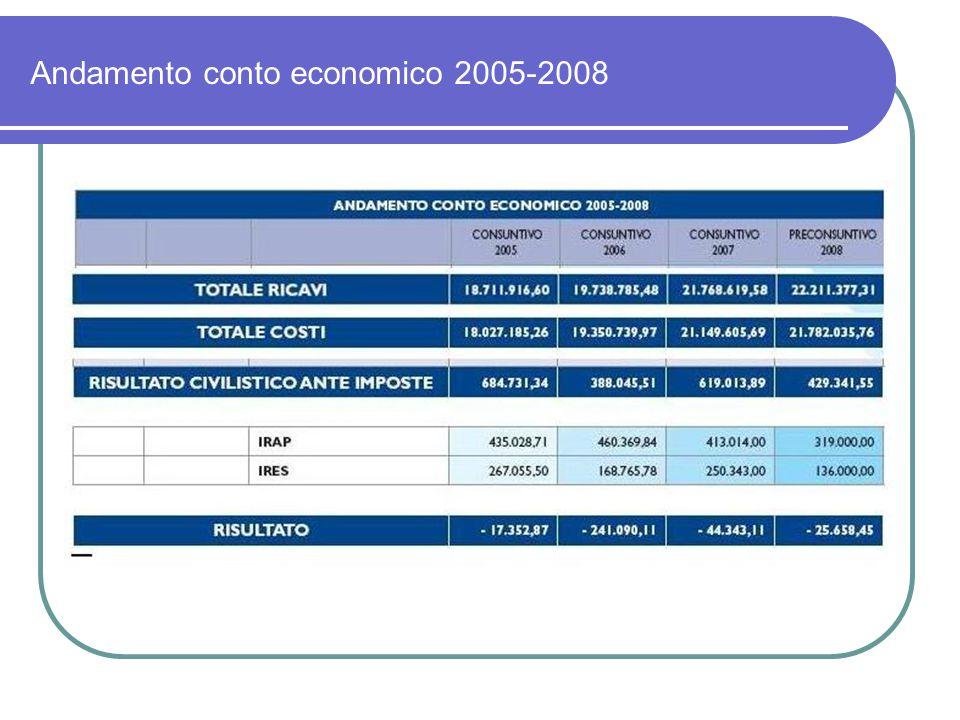Andamento conto economico 2005-2008
