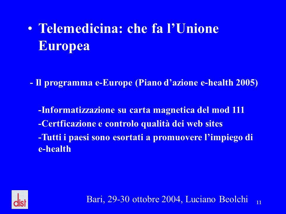 Bari, 29-30 ottobre 2004, Luciano Beolchi 11 Telemedicina: che fa l'Unione Europea - Il programma e-Europe (Piano d'azione e-health 2005) -Informatizzazione su carta magnetica del mod 111 -Certficazione e controlo qualità dei web sites -Tutti i paesi sono esortati a promuovere l'impiego di e-health