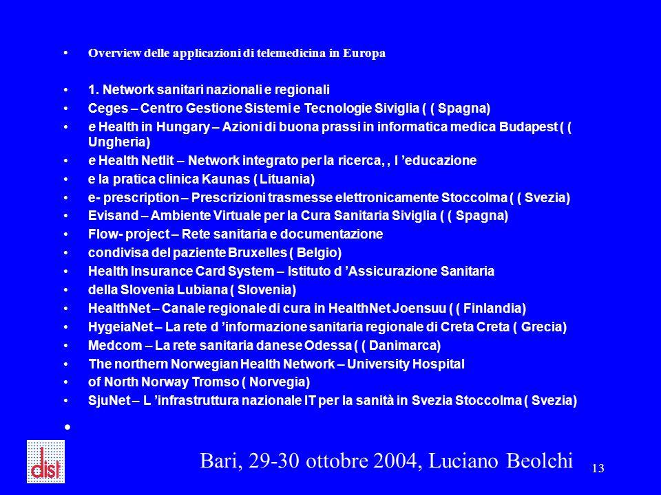 Bari, 29-30 ottobre 2004, Luciano Beolchi 13 Overview delle applicazioni di telemedicina in Europa 1. Network sanitari nazionali e regionali Ceges – C