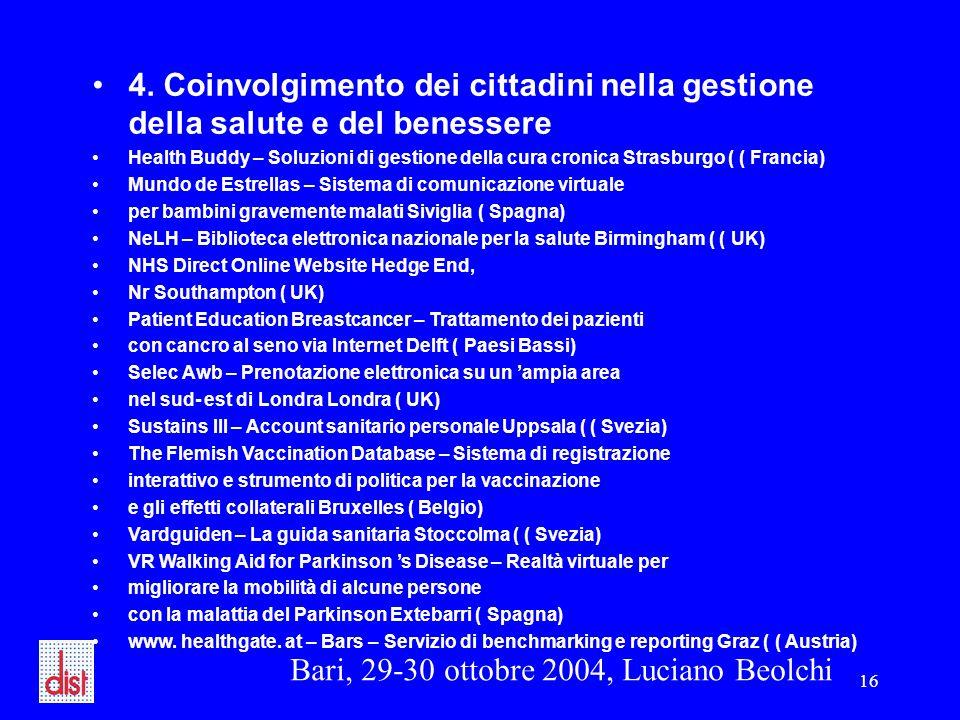 Bari, 29-30 ottobre 2004, Luciano Beolchi 16 4. Coinvolgimento dei cittadini nella gestione della salute e del benessere Health Buddy – Soluzioni di g
