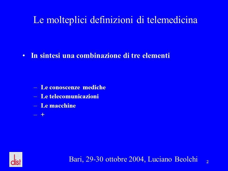 Bari, 29-30 ottobre 2004, Luciano Beolchi 2 Le molteplici definizioni di telemedicina In sintesi una combinazione di tre elementi –Le conoscenze mediche –Le telecomunicazioni –Le macchine –+